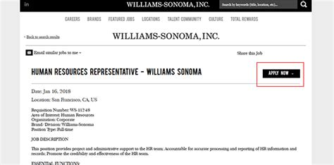 Williams Sonoma Mba Internship by Williams Sonoma Application Apply