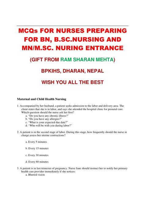Answers To Questions For Nurses by Mcqs For Entrance Test For Bn Mn Msn Nursing By Rs Mehta