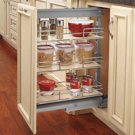 Kitchen Pantry Cabinet With Pull Out Shelves Rev A Shelf Shorty Pull Out Pantry With Maple Shelves For Kitchen Base Cabinet With Free