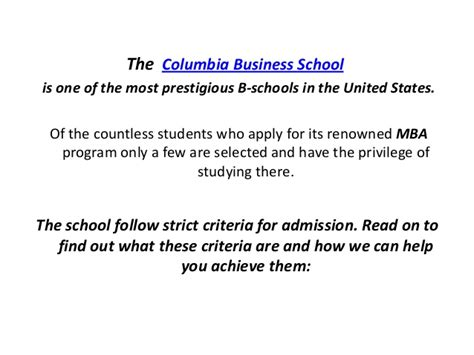 Columbia Admissions Mba Gpa by Columbia Business School Mba Guidelines