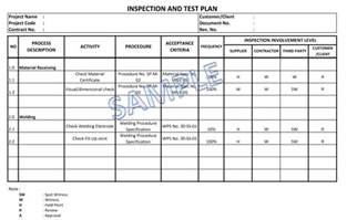 inspection test plan template inspection and test plan itp in project quality