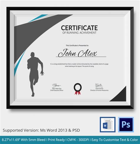 run certificate template certificate of running template 5 word psd format