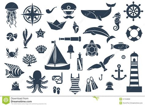 nautical design elements vector flat icons with sea creatures and symbols stock vector