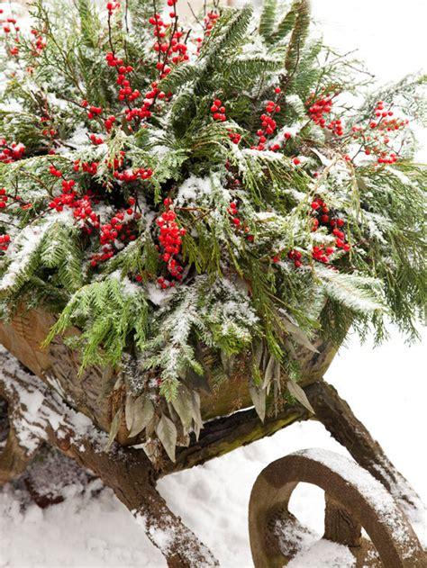 winter outdoor decor outside decor fir filled vintage wheelbarrow xenia