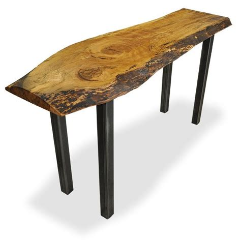 solid wood salvaged and reclaimed edge console tables