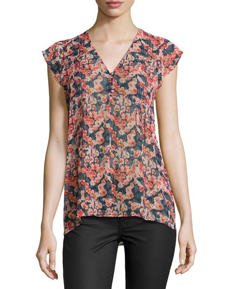 Blouse B joie macy b floral print blouse in blue navy lyst