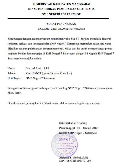 contoh surat penunjukan kerja yang benar seputar