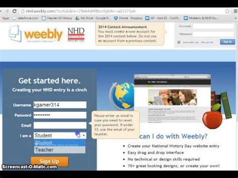 nhd website how to create a weebly website for nhd youtube
