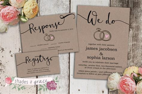 Wedding Invitation Card Paper by Printable Wedding Invitation Rustic Wedding Invitations