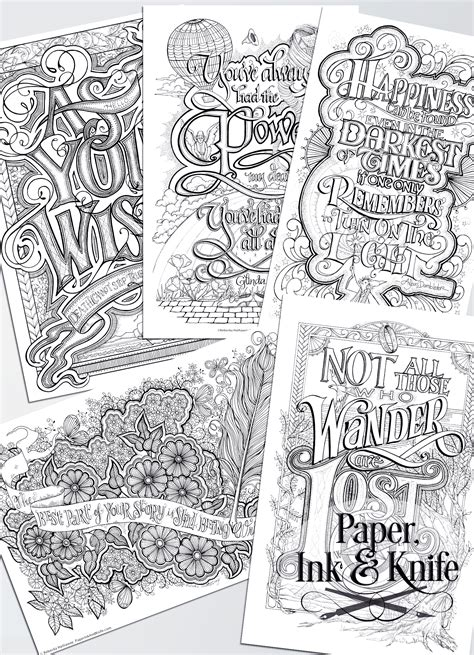 coloring posters coloring poster set wise words paper ink and knife