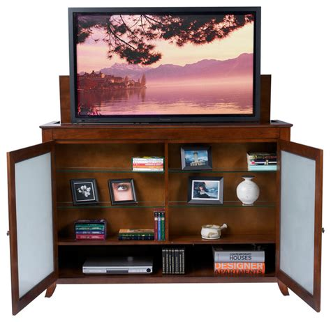 brookside tv lift cabinet for flat screen tv s up to 55