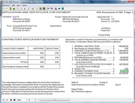 Aia Invoice Template construction software by computerease accounting