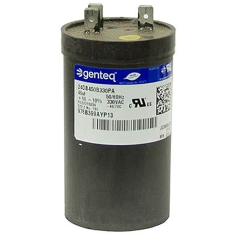 genteq motor run capacitor 45 mfd 330 vac run capacitor genteq motor run capacitors capacitors electrical www