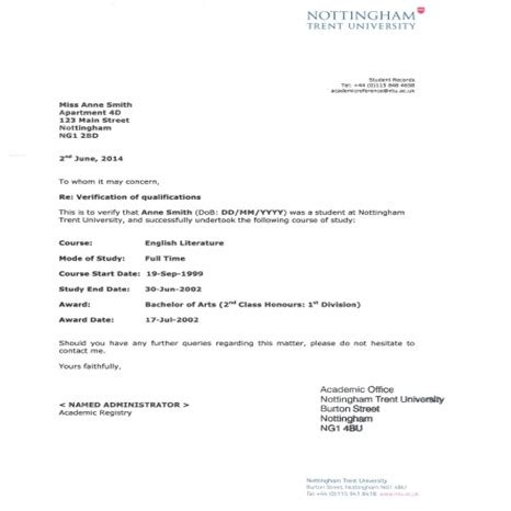 universita lettere verification letter nottingham trent