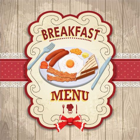 vintage breakfast poster design vector
