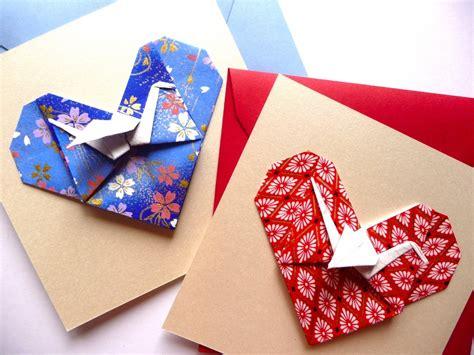 Carte Origami - carte mariage ou f 233 licitations coeur et grue en origami