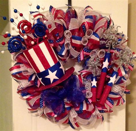 Handmade Fireworks - 4th of july mesh wreath handmade top hat and fireworks