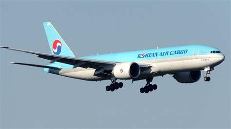 korean air cargo boeing 777 landing at vienna airport