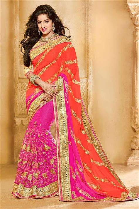 which colour blouse suits for pink saree orange and pink color georgette party wear saree party