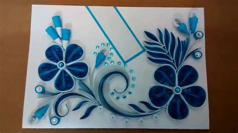 Greeting Card Using Quilling Paper - paper quilling greeting card blue
