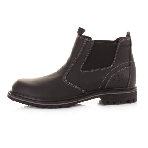 skechers mens boots uk mens skechers roven united black leather dealer chelsea