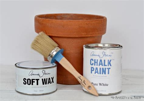 how to age terracotta pots with a mixture of sloan chalk paint and wax simplicity in the