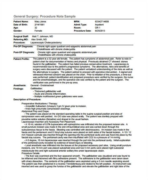 procedure note templates 6 free word pdf format