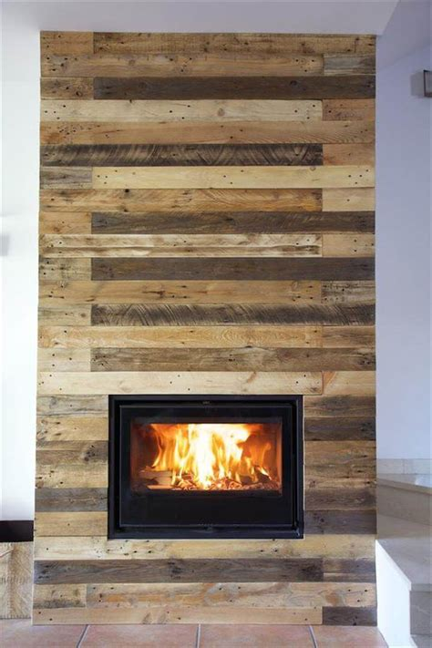Pallet Wall Fireplace by Pallet Wall Surrounding Faux Fireplace