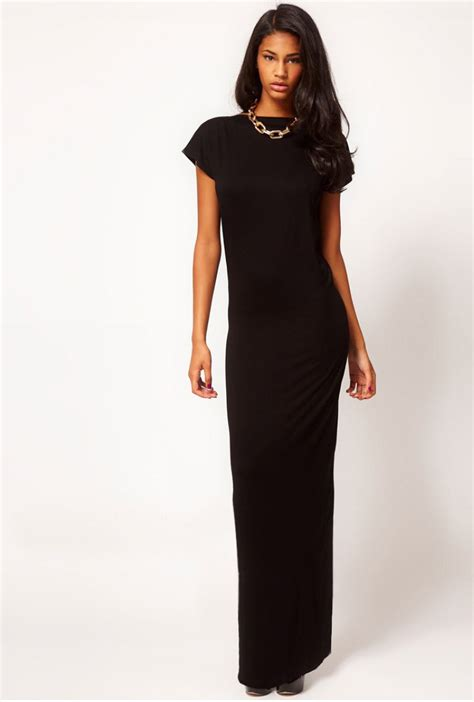 Backless Sheath Dress v back backless slit maxi sheath dress black