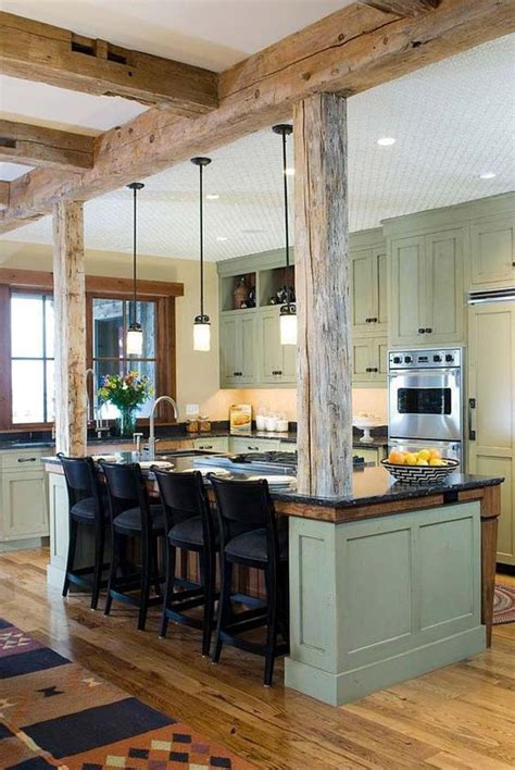 exposed beam picture of inviting kitchen designs with exposed wooden