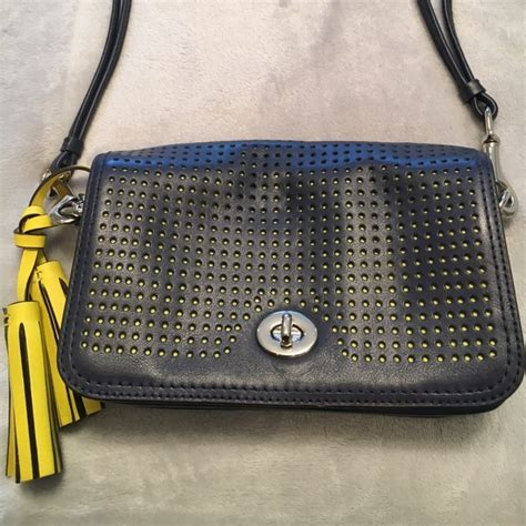 Coach Navy Blue Crossbody 54 coach handbags navy blue and yellow coach