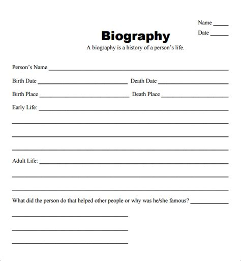 structure of a biography for students 10 biography templates word excel pdf formats
