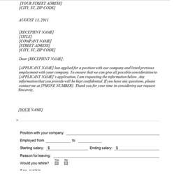Certification Letter Of Previous Employment Previous Employment Verification Request Template Sample