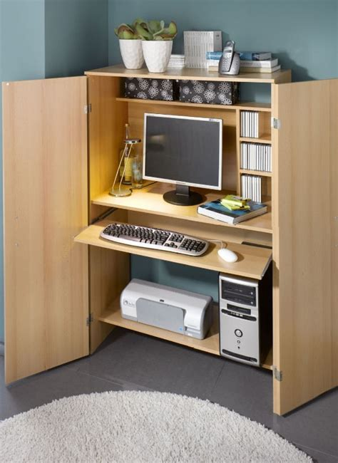 Space Saving Home Office Desk Computer Armoire A Useful Furniture For A Small Home Office