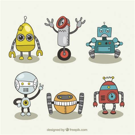 imagenes de robots kawaii conjunto de dibujos de robots descargar vectores gratis
