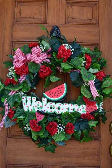 Front Door Wreaths For Summer Front Door Welcoming Summer Wreath Watermelon Ants