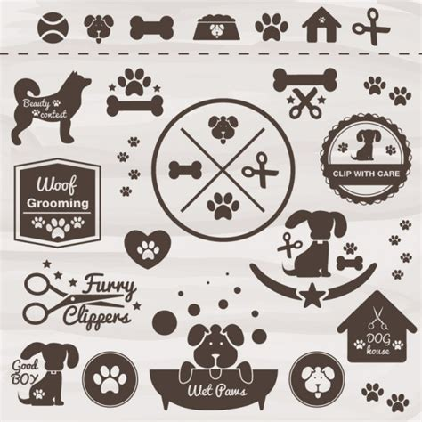 cdr training pattern pets vector dog icon set vector free download