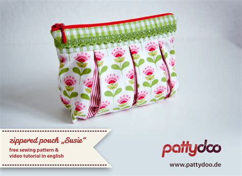 sewing pattern zippered pouch pattydoo tutorial video shows how to sew a zippered