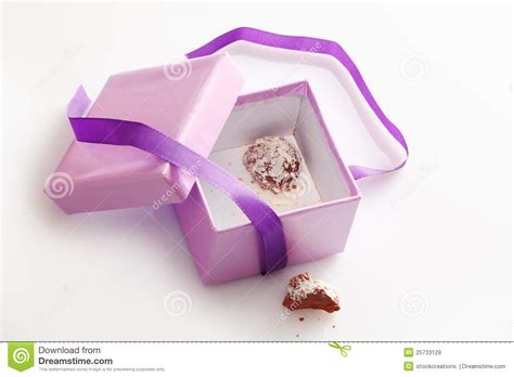pretty gifts pretty gift box with last chocolate truffle royalty free
