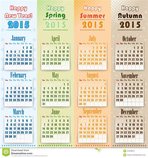 I S D Calendar Colorful 2015 Calendar On Seasons Stock Vector