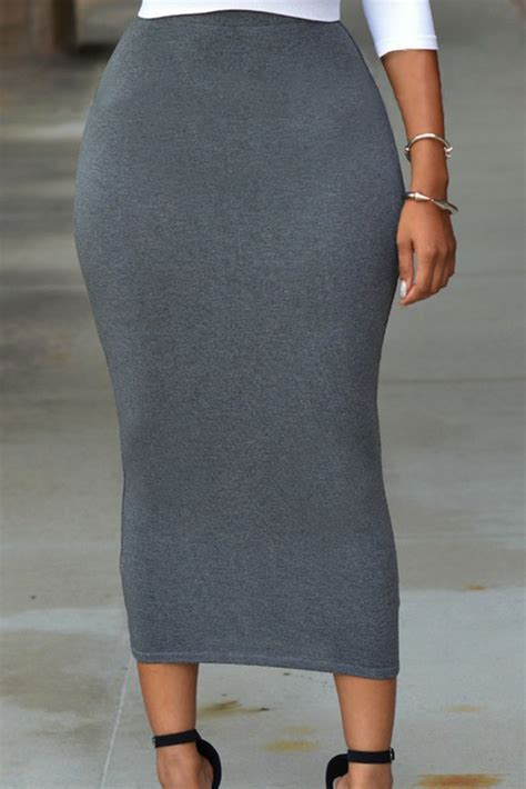 in solid grey high waisted bodycon maxi skirt