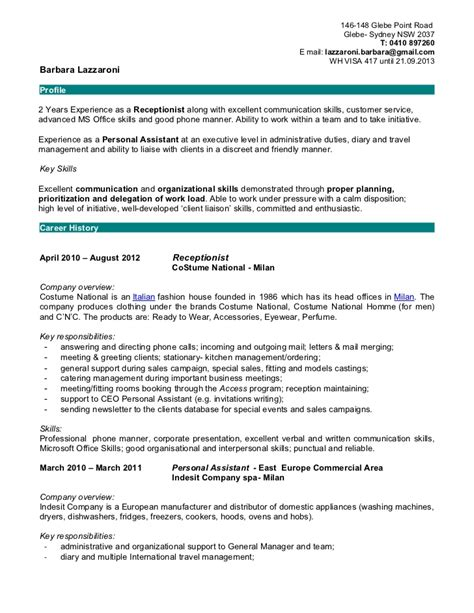 receptionist resume sle 2012 barbara lazzaroni resume receptionist
