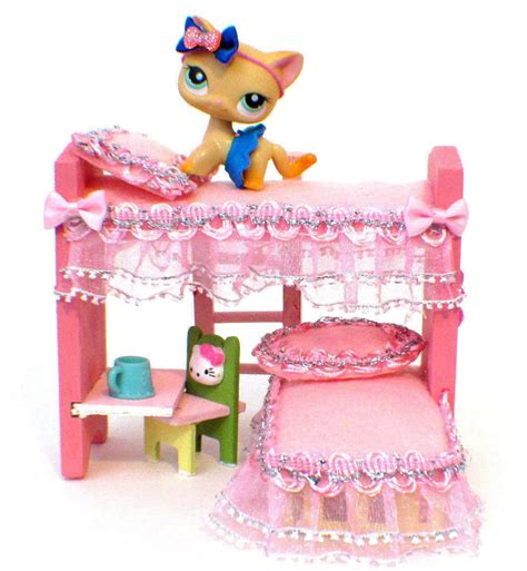 lps beds littlest pet shop ooak wood bunk bed furniture lps or