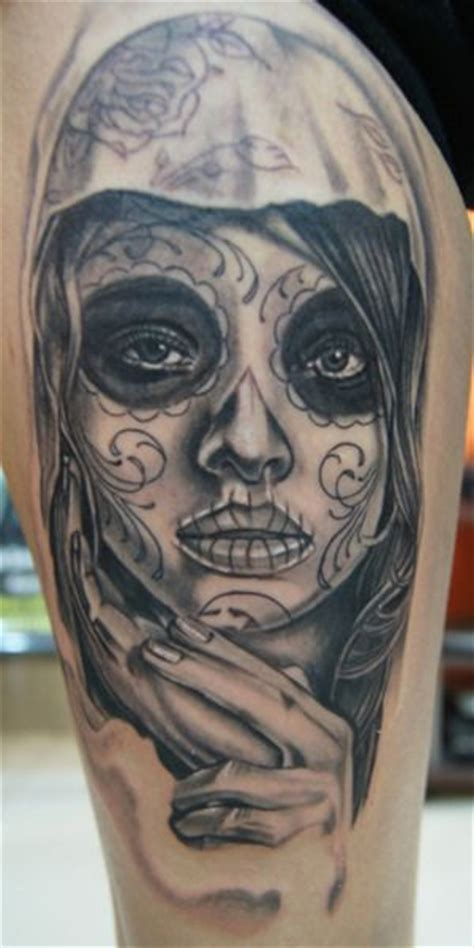 sugar skull lady tattoo designs this muerte day of the dead was made by daus n
