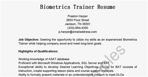 Biometrics Trainer Sle Resume by Resume Sles Biometrics Trainer Resume Sle