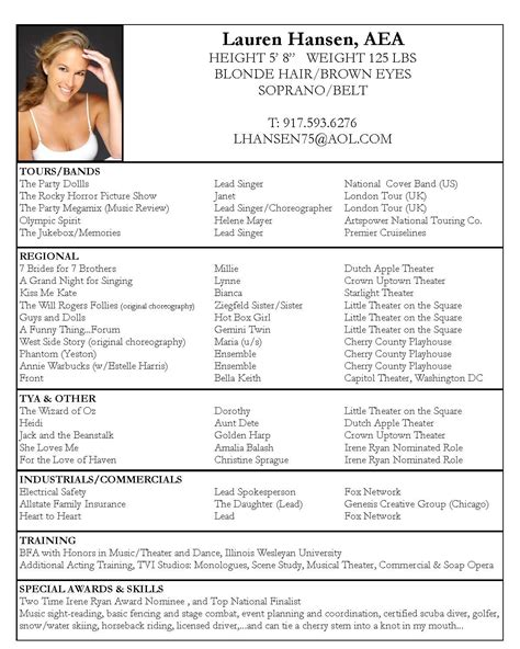 Theatre Resume Exle by Acting Resume Sle Free Fax Cover Letter Exle