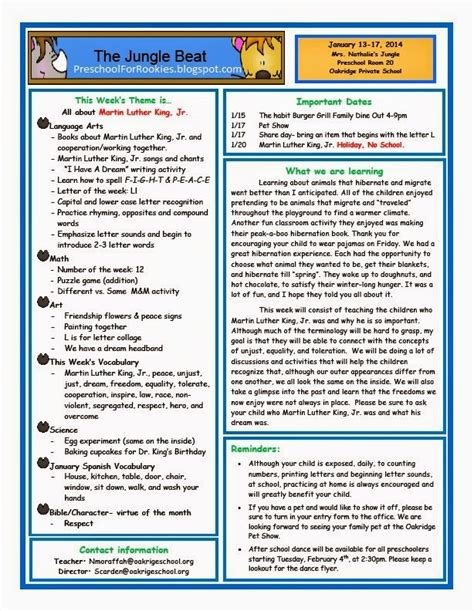 weekly newsletter a new year preschool for rookies martin luther king jr preschool