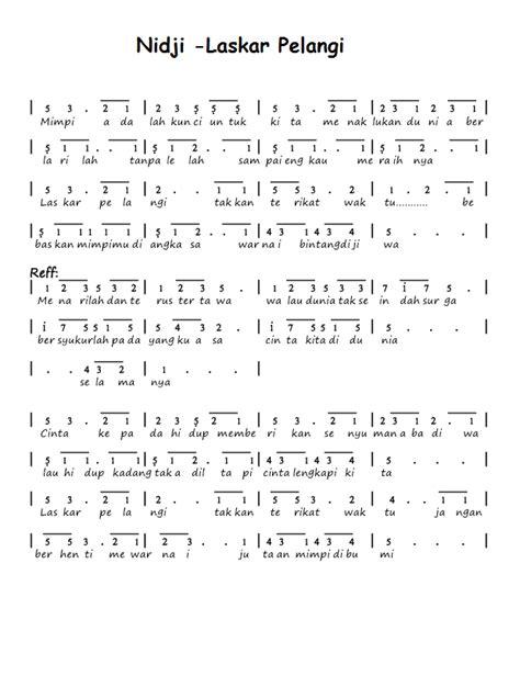 belajar kunci gitar nidji laskar pelangi kumpulan not angka not angka nidji laskar pelangi