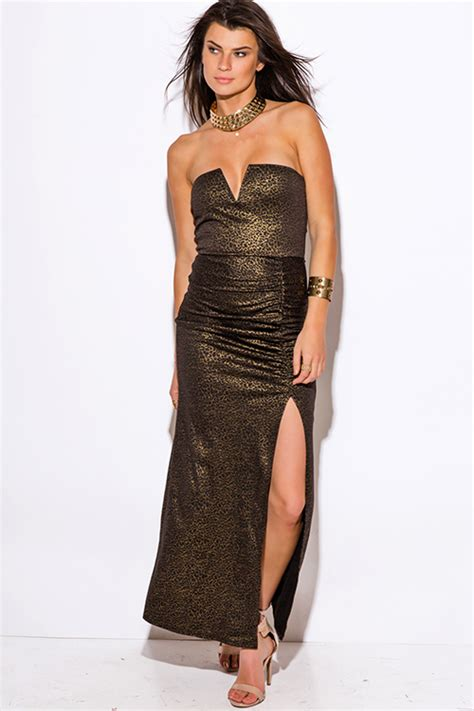shop gold metallic animal print sweetheart v neck high slit strapless fitted formal evening