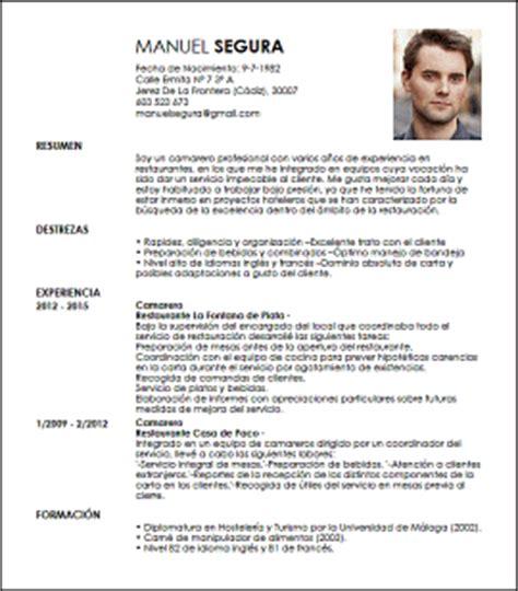 Modelo Curriculum Hosteleria Modelo Cv Camarero De Restaurantes Livecareer